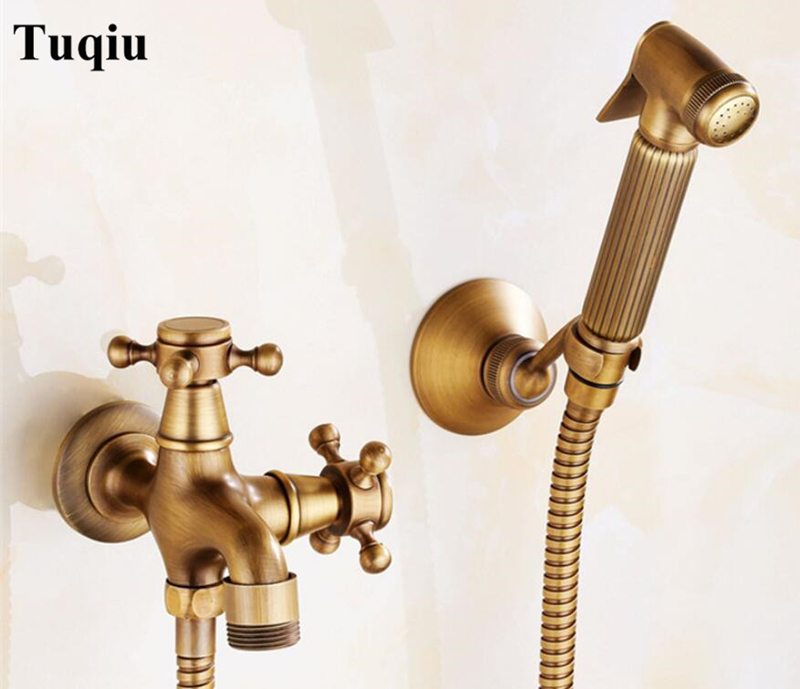 Antique Solid Brass Double Use Bidet Faucet Set Single Cold Water Corner Valve Bidet Function Cylindrical