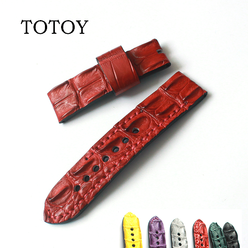 TOTOY handmade crocodile leather red black 24MM fit PAM Vacheron Constantin card Swiss mechanical watch crocodile leather strap women crocodile leather watch strap for vacheron constantin melisa longines men genuine leather bracelet watchband montre