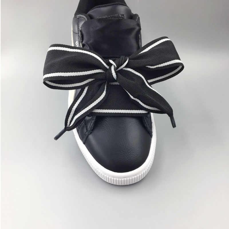 SENTCHARM/4 см шириной 108 см/42,5 дюйма; черно-белый бант; модные женские туфли на плоской подошве с ремешком для обуви; обувь для отдыха