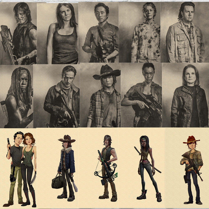 The Walking Dead Characters Posters Cartoon Prints Home Wall