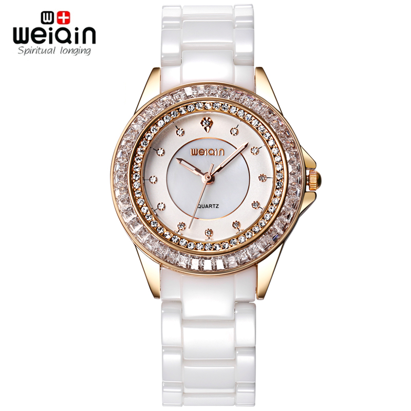 WEIQIN Brand White Ceramic Band Watch Women Rhinestone Rose Gold Wrist Watch Female Quartz Ladies Watch Shock Water-Resistant бра mw light барселона 7 313023103