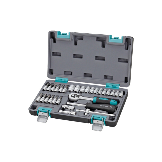 Набор инструментов STELS 14100 (29 предметов, 1/4 дюйма, хром-ванадиевая сталь и сталь S2, трещоточный ключ, торцевые головки, отвертка-держатель и др., пластиковый кейс)