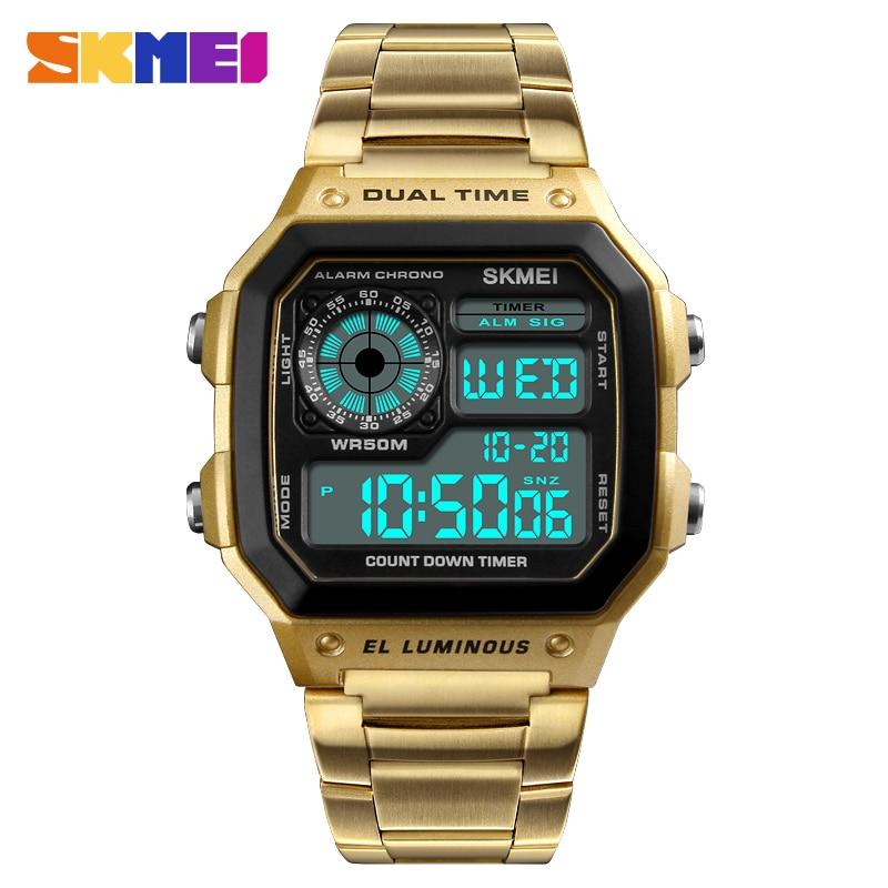 aadcc78efc2f Skmei hombre relojes deportivos impermeable Acero inoxidable moda oro  pulsera digital relojes reloj Masculino en Relojes deportivos de Relojes en  ...