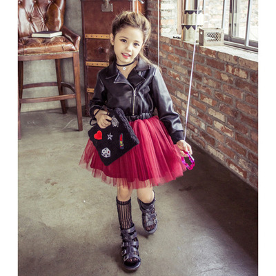 Baby Spring Girls Leather Jackets Autumn Leather Stitching Mesh Dresses Tutu Skirts Motorcycle Childrens Leather Jackets Boys' Baby Clothing