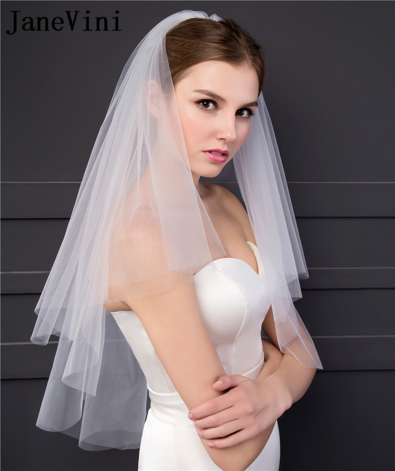 JaneVini Short Wedding Veil with Comb 2019 Simple Cut Edge Velo Tul Bridal Veil Ivory White Two Layers Tulle Bride Veils Hair