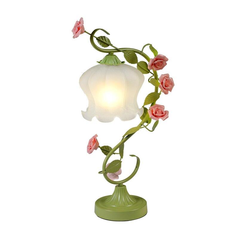 White Green Iron Pink Rose Flower Glass Table Lamp Light