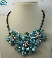 New Arriver Leather Pearl Jewellery,Stunning Gray Freshwater Pearl Blue Sea Shell Flower Leather Necklace Perfect Women Gift