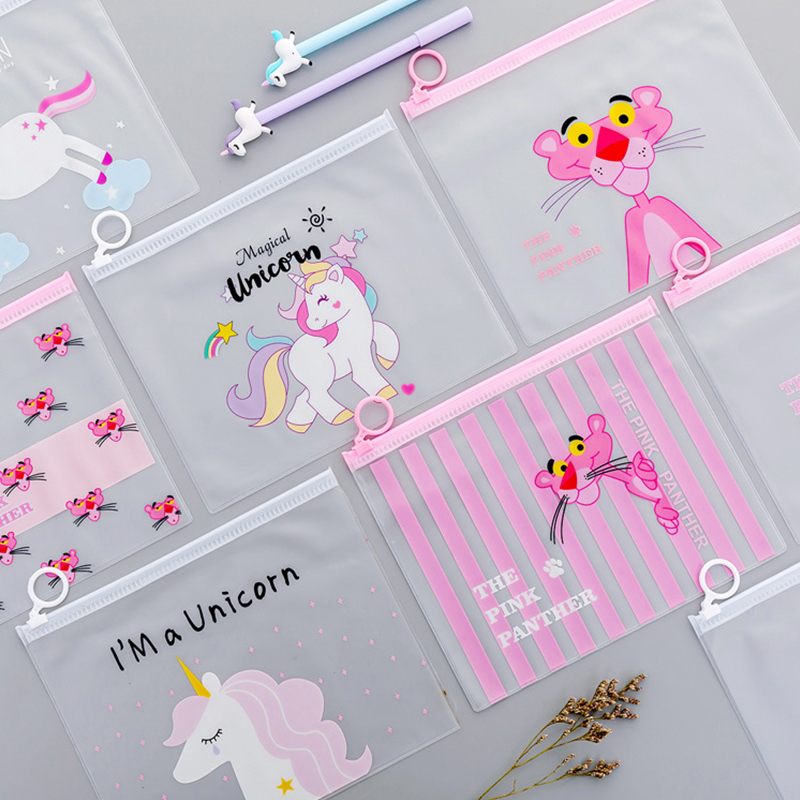 Big Capacity Unicorn Pencil Case Cute PVC Pink Leopard Cactus Pen Bag Stationery Pouch Gift School Supplies Canetas Zakka