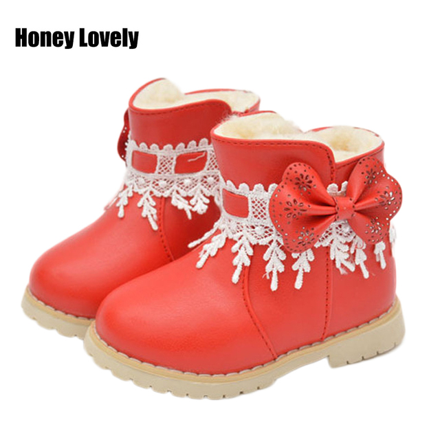 d96a3d0a4af1a 2016 Autumn Winter new hot pink baby girls boots worm fleece unti skid  infant toddler shoes Outdoor prewalker baby shoes