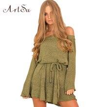 ArtSu Frauen Mode Pullover Kleid 2017 Herbst Winter Sexy Sexy Slash Hals  Mini Solide Kleider Lace 204929e821