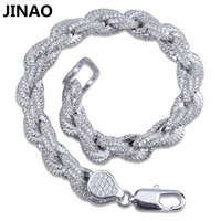 JINAO Gold Silver Color Plated Iced Out Twisted and Oval Link Bracelet Micro Pave Zircon Men Women Bracelets Bling Party Jewelry