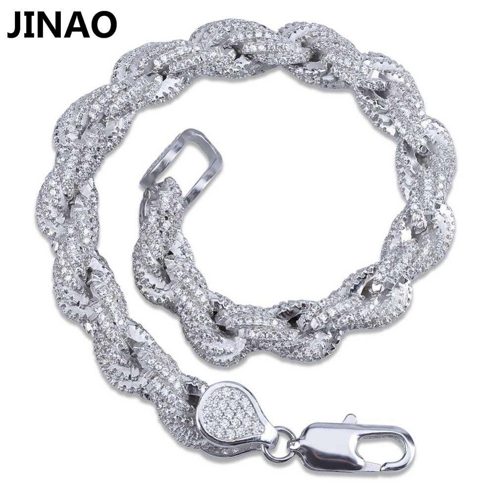 JINAO or argent couleur plaqué glacé torsadé et ovale lien Bracelet Micro pavé Zircon hommes femmes Bracelets Bling fête bijoux