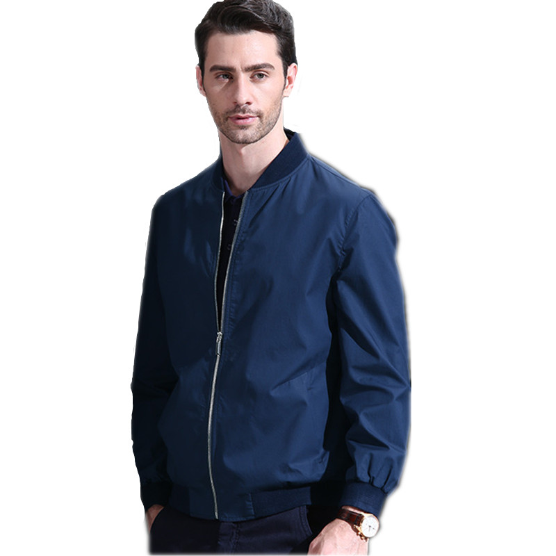 amazing selection customers first wide selection US $76.04 50% OFF|100% Cotton Brand Clothing Navy Thin Bomber Jacket Men  Loose Baseball Collar Mens Jackets And Coats Plus Size Men jacket FYY167-in  ...
