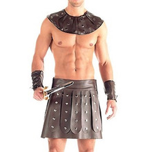 Male sexy costume With pleated Skirt Collar Cuffs Faux Leather sparta