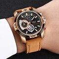 LIGE Herren Uhren Top Brand Luxus Casual Leder Quarz Uhr Männliche Sport Wasserdichte Uhr Geschenk Gold Uhr Männer Relogio Masculino-in Quarz-Uhren aus Uhren bei