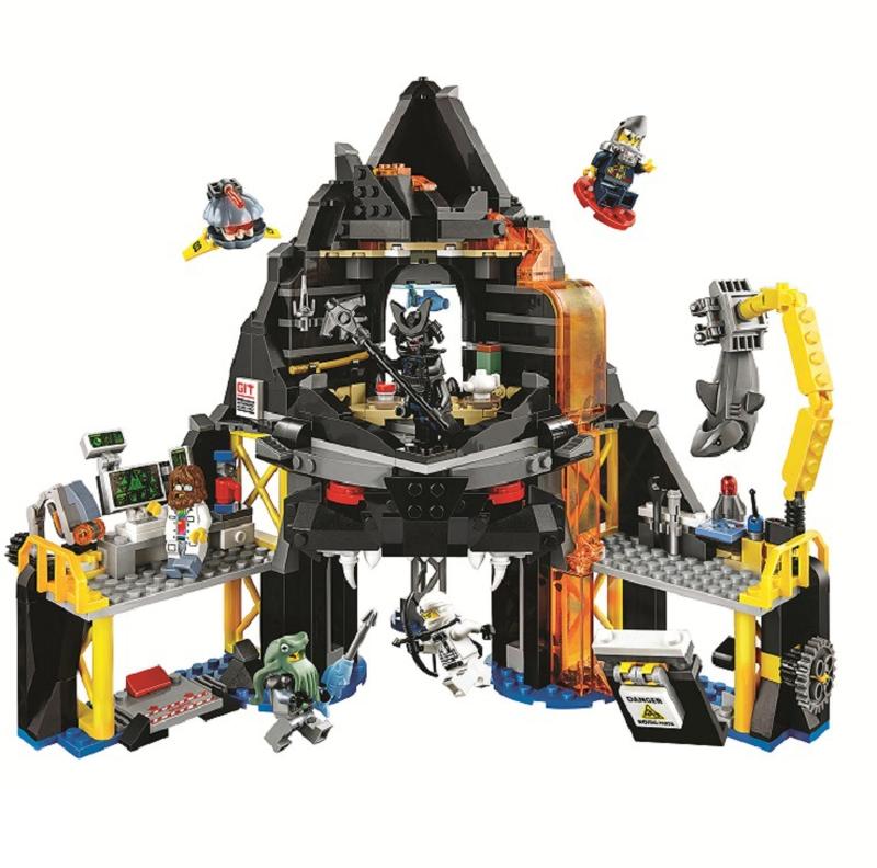 Ninja Movie Garmadon's Volcano Lair Base Fortress 10798 Model Building Blocks Assemble Toys Bricks Compatible with Legoinglys