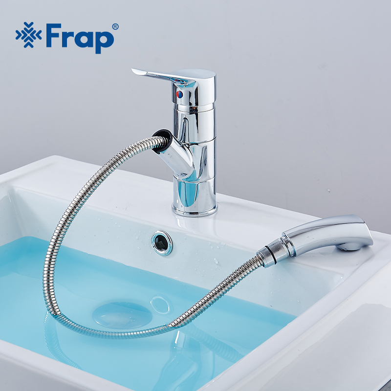 Frap High Quality Pull Out Bathroom Basin Sink Faucet Single Handle Hot and Cold Water Crane Vessel Sink Mixer Tap Y1011