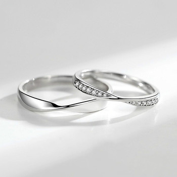 Flyleaf  Sterling Silver Simple Shiny Zircon Couple Ring Set 1