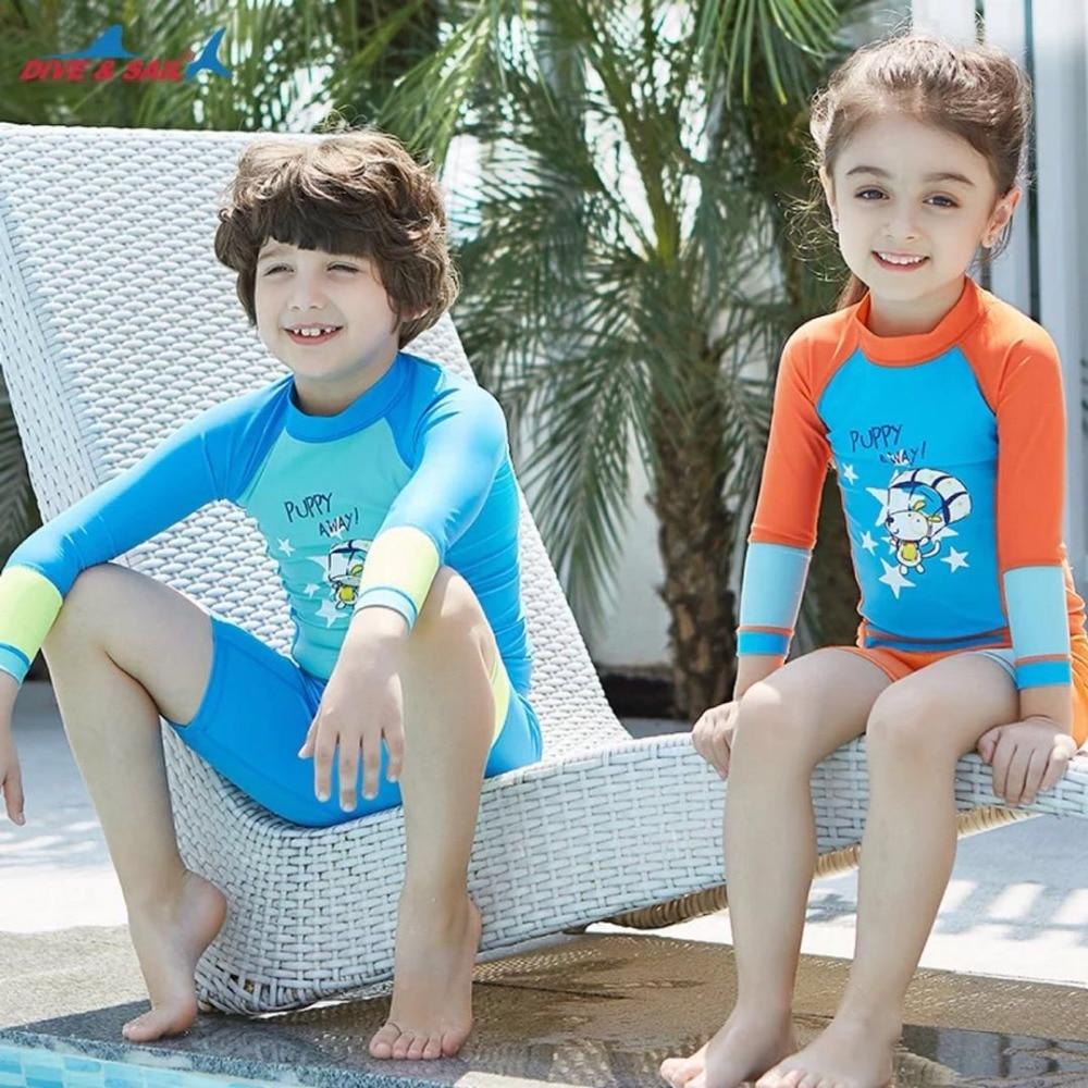 0b7a62fee5 Girls Boys Swimsuit UPF 50+ UV Long Sleeve Swimwear Swimming Suits 3-12  Years Kids Child Beach Shirt trunks surfing diving suit