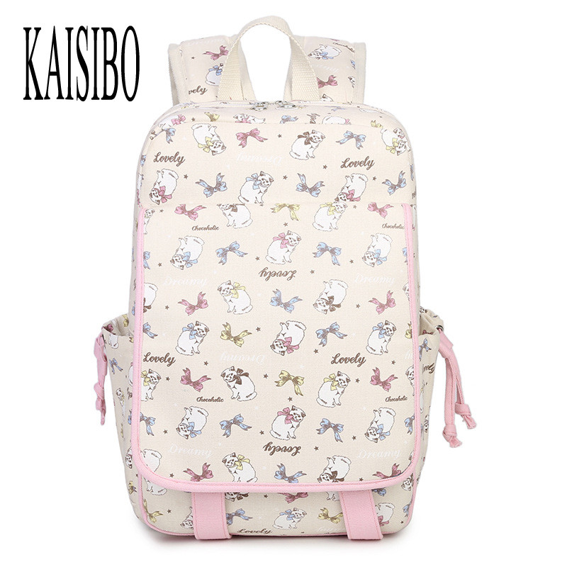 KAISIBO Cute Cat Printing Backpack Women Fashion Pink Girls Backpacks Cartoon Canvas Laptop Bags Beige Green Female Backpack 2016 fashion women s backpack beige