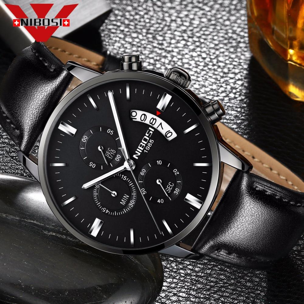 NIBOSI Mens Watch  Luxury Top Brand Fashion Watches Relogio Masculino Military Army Watches Analog Quartz Wristwatches Leatherleather brandleather fashionleather leather -