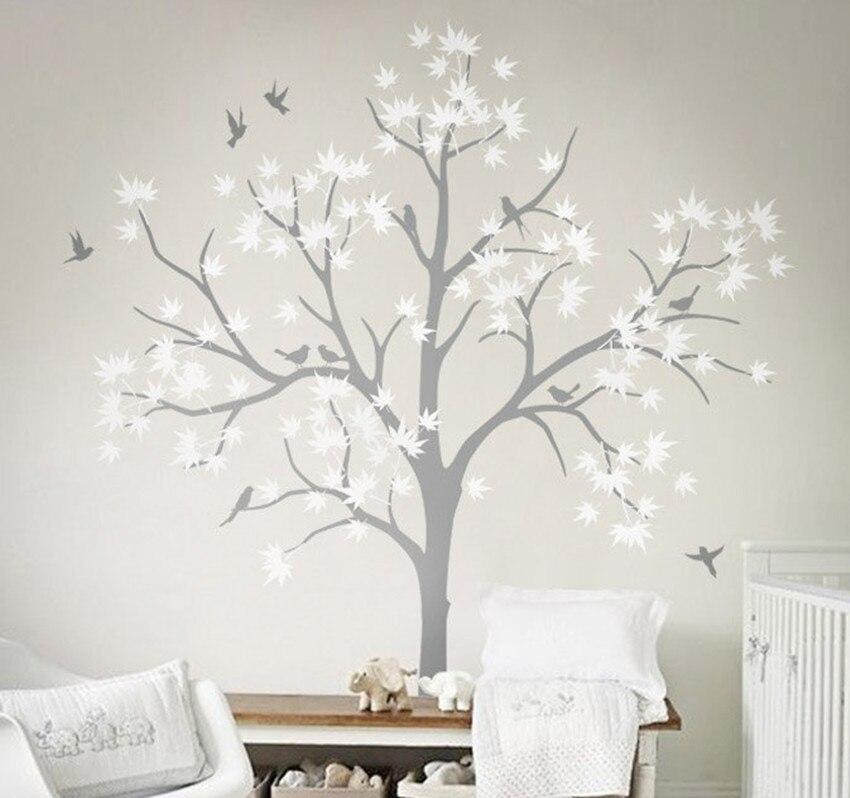 Five Huge White Tree Wall Decal Vinyl Stickers Birds Decals Baby ...