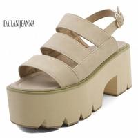 High heel sandals women style buckle belt waterproof platform exposed toe height increasing thick sole sandals women ' s shoes