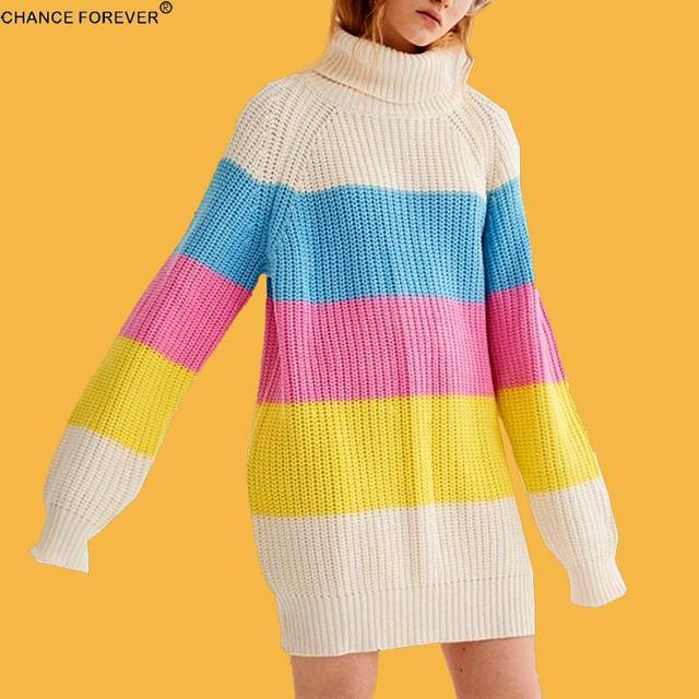 Chance Forever Lazy Oaf Rainbow Stripe Oversize Sweater Highneck