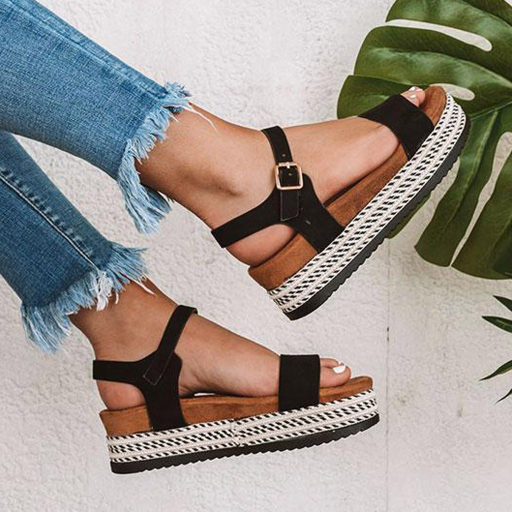 Womens Casual Rubber Sole Studded Wedge Buckle Ankle Strap Open Toe Sandals