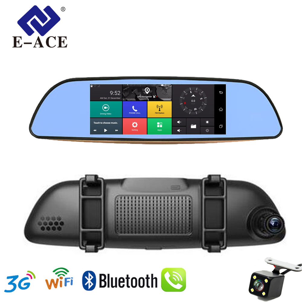 E-ACE 3G WIFI Car DVR 7 Inch Video Recorder Rearview Mirror With DVR And Camera Android Dual Lens 1080P WIFI Cars GPS Navigator plusobd car recorder rearview mirror camera hd dvr for bmw x1 e90 e91 e87 e84 car black box 1080p with g sensor loop recording