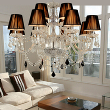 Modern black crystal Chandeliers light lamp dining room living room Lobby lamp - 12pcs E14 LED CANDLE BULB Free Shipping by DHL
