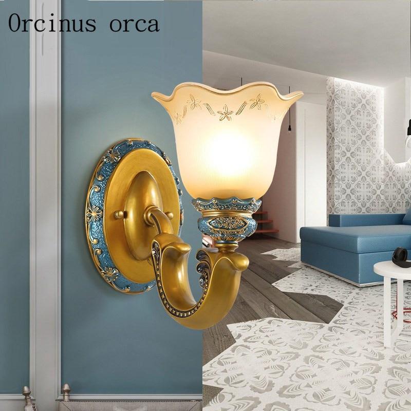 Mediterranean simple blue wall lamp bedroom bedside lamp aisle American Pastoral creative resin painted wall lamp free shipping|blue wall lamp|wall lampwall lamp bedroom - title=