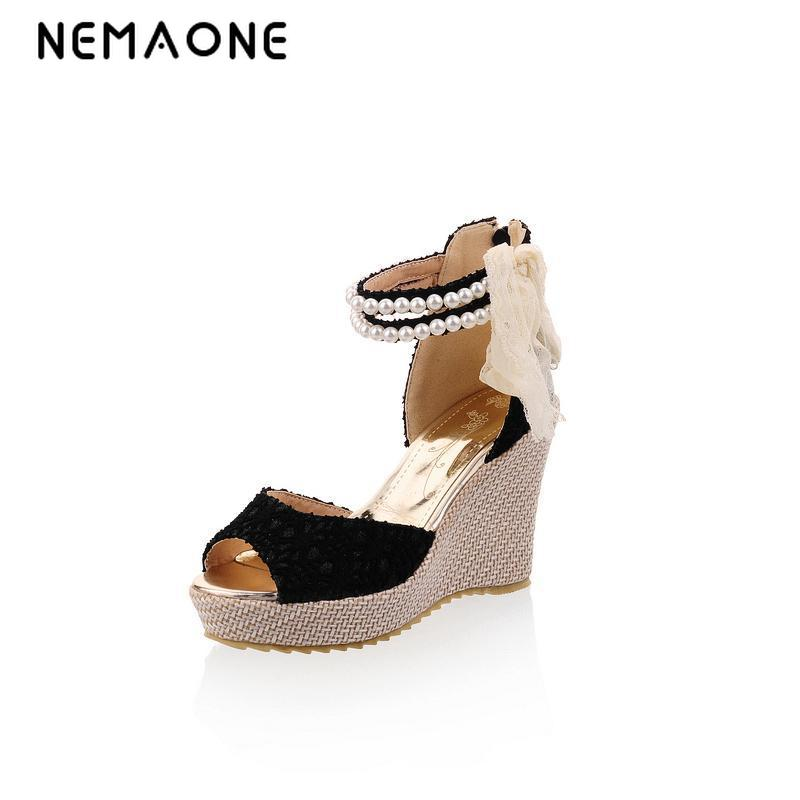 NEMAONE fashion new Bohemia beaded sandals female wedge platform shoes gladiator ankle strap elegant women high heel sandals casual bohemia women platform sandals fashion wedge gladiator sexy female sandals boho girls summer women shoes bt574