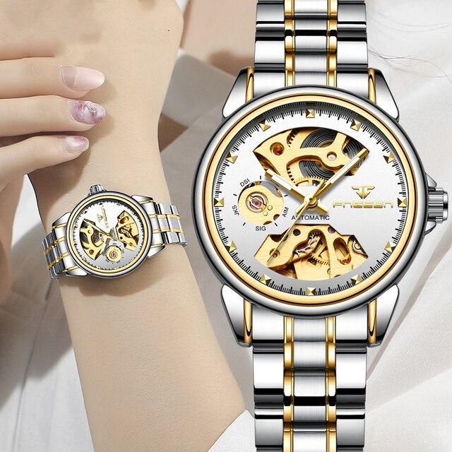 2019 יוקרה נקבה שעון אוטומטי מכאני עסקי שעון גבירותיי שעונים עמיד למים חלול ורוד מכונאי שעון לנשים מתנה