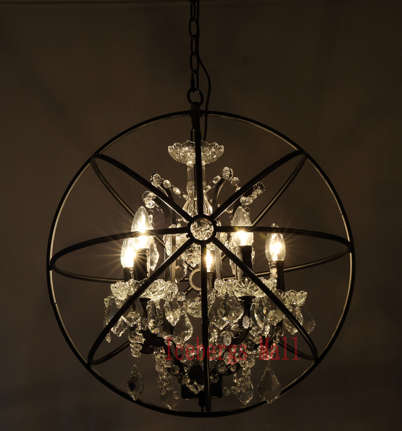 Nordic Iron Chain Cage Crystal Pendant Lights American RH Industrial Lamp Vintage Home Decor Hanging Light For Living Room5