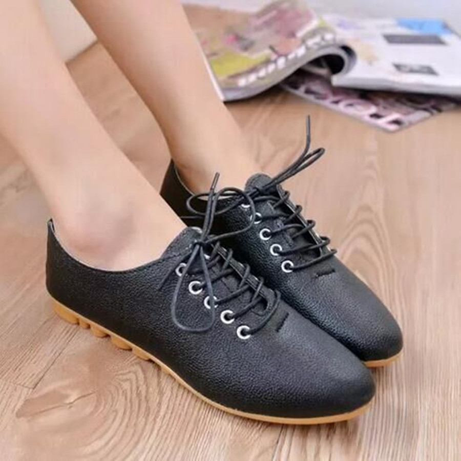 hot fashion casual flat shoes Round Toe solid artificial leather Female Lace-up Comfortable lesuire breathable all match shoes 2017 new women shoes genuine leather casual shoes flats breathable lace up soft fashion brand shoes comfortable round toe white