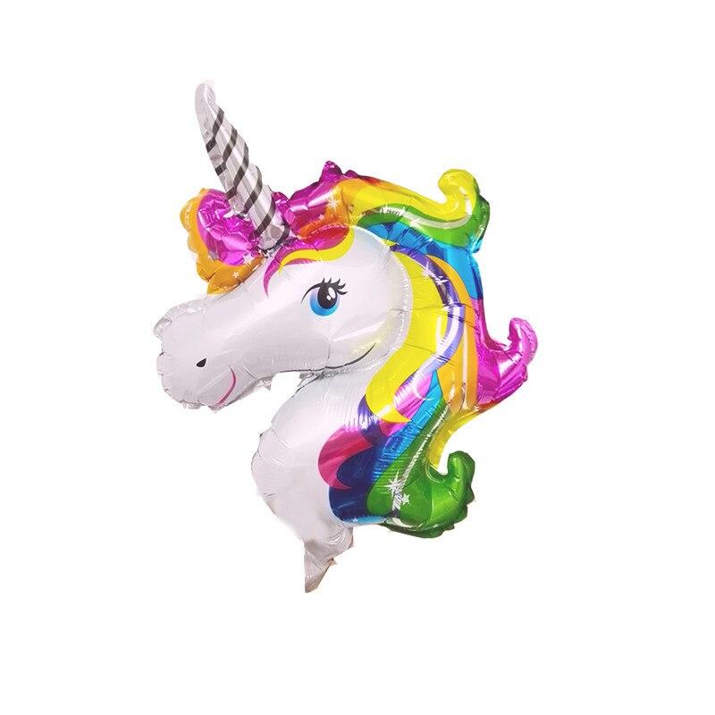 50pcs Mini Rainbow Unicorn Foil Balloons Air-filled Ballon for Kids Birthday Party Supplies Baby Shower horse globos