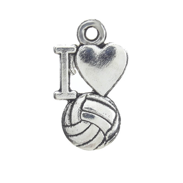 20pcs/lot 9*16mm I Love Volleyball Sports Charm DIY Jewelry Accessories Necklace Earrings Bracelet Keychain Brooch Pendant