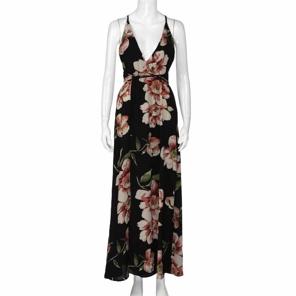 2019 женское платье, Летнее Длинное Платье Бохо, вечернее пикатное для вечеринок, Пляжное Платье, сарафан с цветочным принтом, халат на бретельках, femme, летнее платье