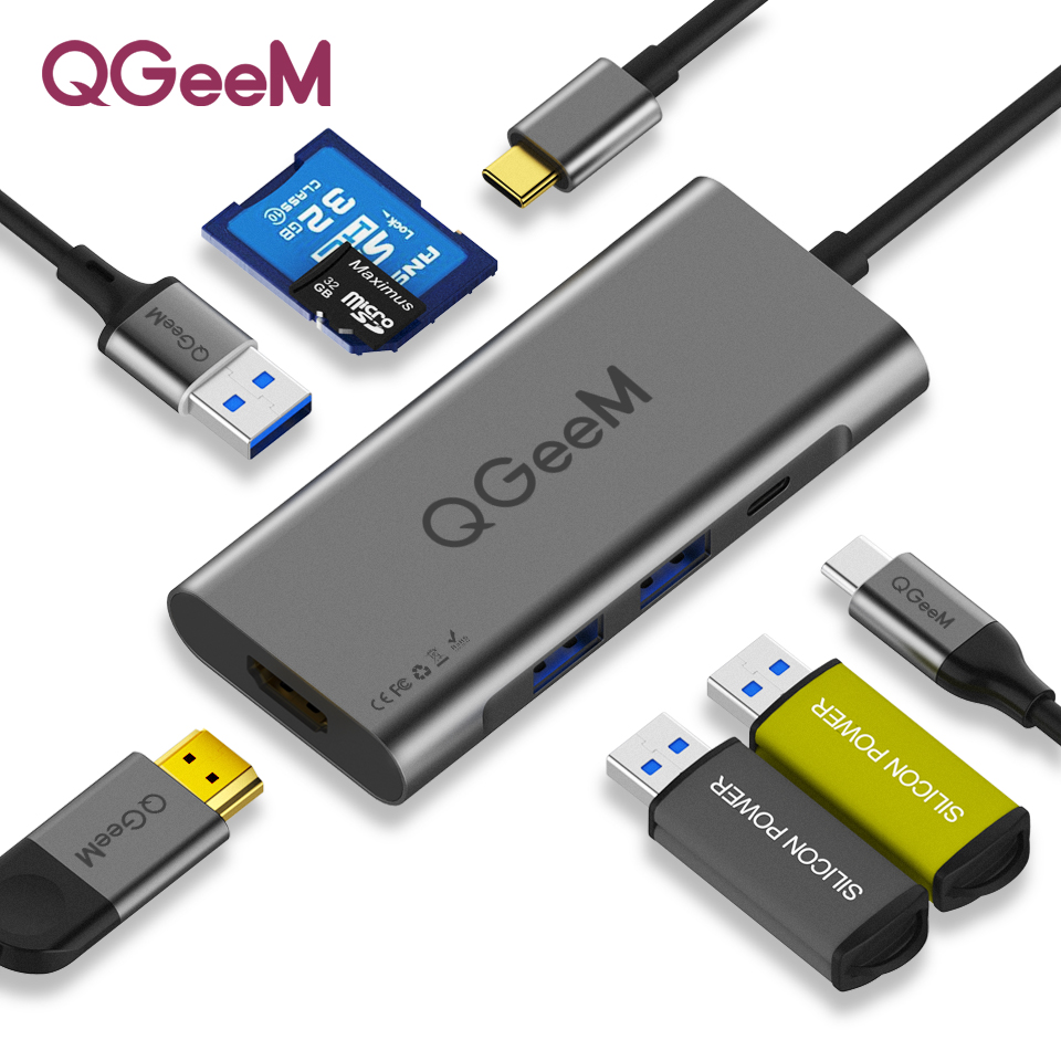 QGeeM USB C HUB HDMI Type-C  HUB To Hdmi USB 3.0 Thunderbolt 3 Card Reader For Macbook 2018 Mate20 P30 Glaxy S9 S10 USB C HUB(China)