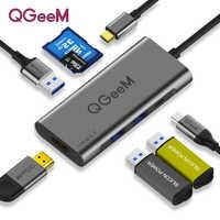 QGeeM USB C HUB HDMI type-c HUB vers Hdmi USB 3.0 Thunderbolt 3 lecteur de carte pour Macbook 2018 mate20 P30 glaxy S9 S10 USB C HUB
