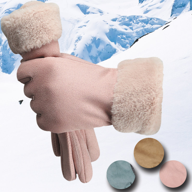 Fashion Suede Gloves Female Winter Touch Screen Warm Plus Velvet Thickening Cold Riding Gloves B54