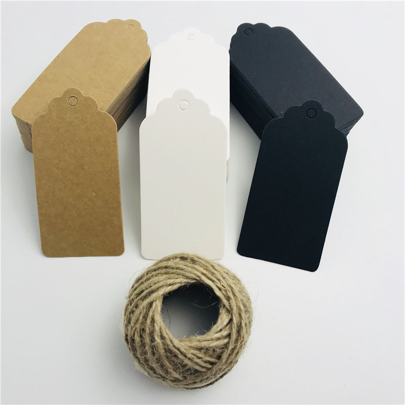 100pcs/lot White Black Brown Kraft Paper Tags Scallop Head Label Luggage Wedding invitation card Blank Price Hang Tag 4.5*9cm