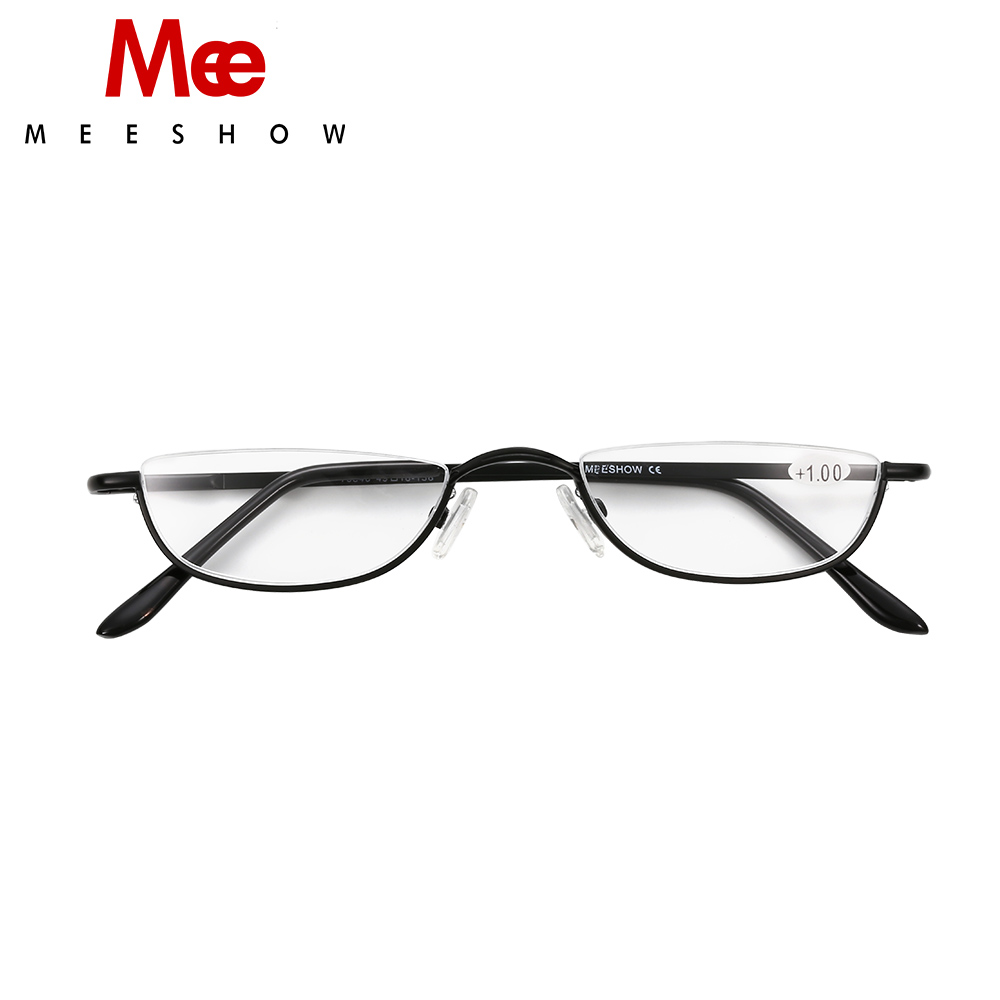 2018 MEESHOW brand design reading glasses men women eye glasses half rim with case classic stainless steel glasses +1.75 T0340