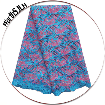 Embroidery Blue African Cord Laces For Party Lilac Guipure Nigerian Latest Lace Fabric 2018 High Quality Nigeria Lace Fabric
