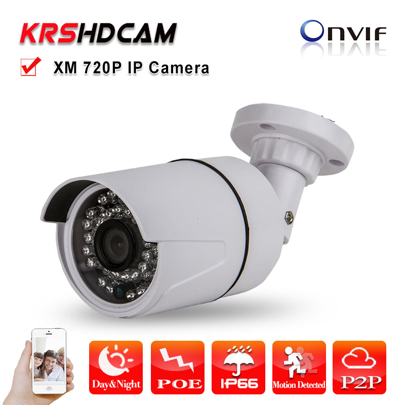 POE IP camera 1280*720P 1.0MP Plastic Fixed Bullet outdoor ONVIF Night Vision P2P IP Cam HD Lens security CCTV cameras j47b as cameras do ip de hd apoiam hd 720p 1280 720 deteccao de movimento mascara da privacidade camera bala