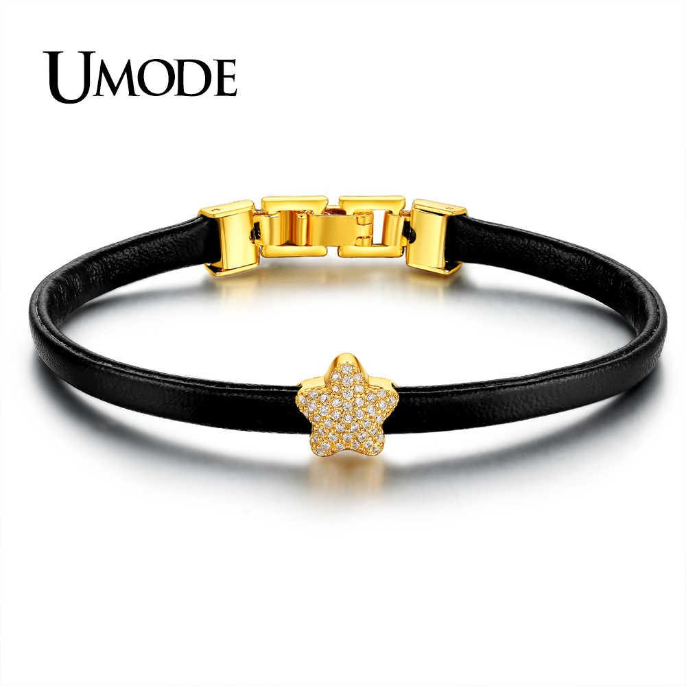 UMODE קסם זהב צבע כוכב CZ אבן חרוז צמידי לנשים חג המולד מתנה חדש עור צמיד Armbanden Voor Vrouwen AUB0111