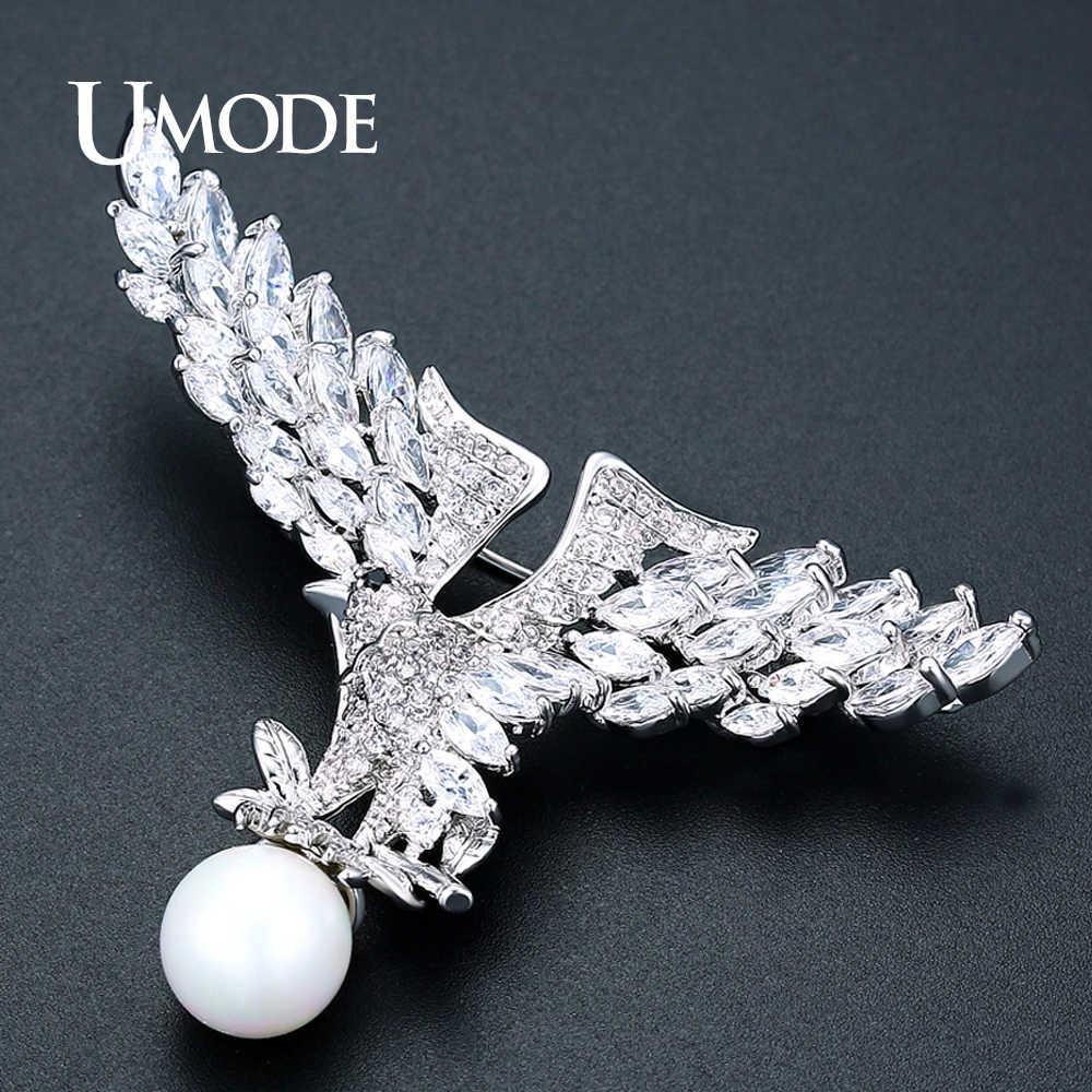 UMODE 新ファッションジュエリーオープン翼イーグル大女性シルバーカラーオーストリアラインストーン Broches Mujer AUX0038