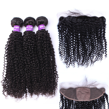 13×4 Silk Base Lace Frontal Closure With Bundles Kinky Curly Brazilian Hair Weave 3 Human Hair Bundles Honey Queen Remy