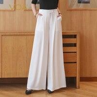 VOA белый Высокая Талия Palazzo Брюки плюс Размеры женские офисные шелковые широкие брюки ноги одноцветное Повседневное Для женщин длинные пояс